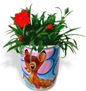 Logózott konzerv virágok